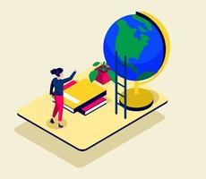 isométrica visual con ilustración de vector de tiempo de mujer y educación