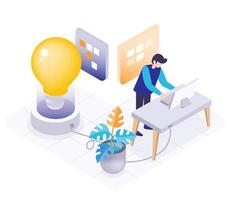 Isometric of young man working on computer vector illustration