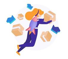 Fast Courier with box to customer, Isometric vector illustration