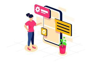 Female teenager setting communication networking on smartphone Isometric illustration concept vector