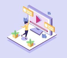 Las comunicaciones ilimitadas hacen que sea fácil mantenerse conectado, cara a cara y ver videos en todo el mundo. vector