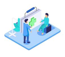 Isometric Visual young man was a meeting with a doctor to treat a disease vector