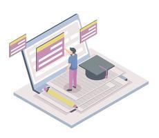 isométrica de adolescentes aprendiendo vector de concepto en línea