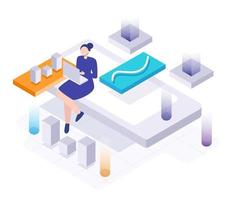 businesswoman working on laptop and mobile phone Isometric vector