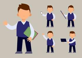 set of  teacher or collegian in cartoon character  with different actions vector