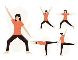Set of healthy people exercise in cartoon characters vector