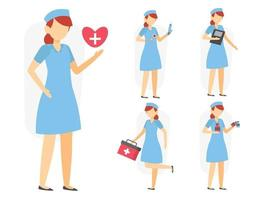 Set of nurse in cartoon character different actions vector