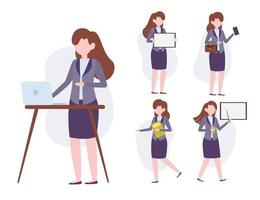 Set of business woman working in cartoon characters vector