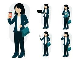 Set of business woman in cartoon character vector