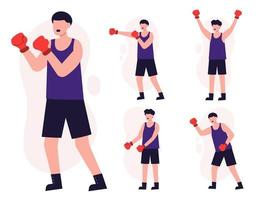 Set of healthy people workout in cartoon characters vector