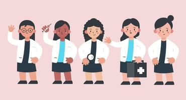 set of  Medical personnel in cartoon character with different actions vector illustration