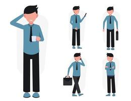 Set of work people in cartoon characters different action vector