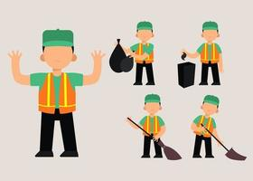 set of Cleaning staff woman in cartoon character with different actions vector illustration