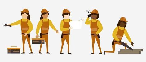 Set of Home repair worker in cartoon characters, vector illustration