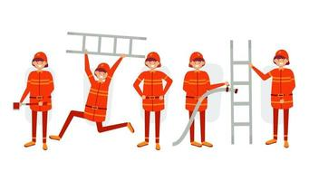 set of  firefighter staff in cartoon character with different actions vector illustration