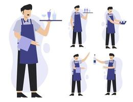 set of waiter in cartoon character different action vector