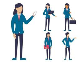 Set of business people in cartoon characters different actions vector