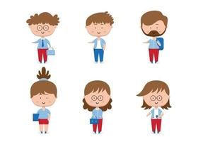 Set of working people with different action in cartoon characters flat vector