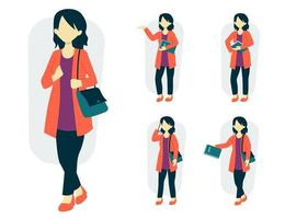 Set of female lifestyle in cartoon character different actions vector