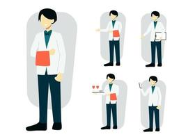 set of waitress in cartoon character different actions vector