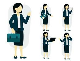 Set of working woman in cartoon charactor vector illustration