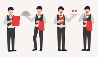 set of waiter in cartoon character different actions flat vector