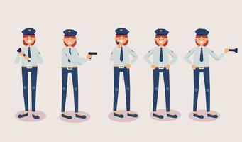 Set of police man in cartoon characters differrent actions vector