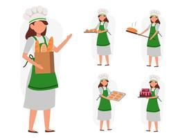 set of female baker in cartoon character different actions vector