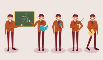 set of  teacher man in cartoon character with different actions vector illustration