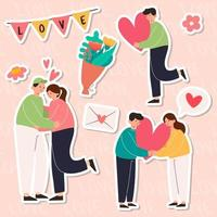 Big Isolated cartoon Vector of young girl and boy in love, couple sharing and caring love, light color backgrounded, illustration