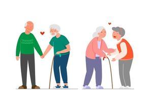 conjunto de familias. colección diferentes parejas. feliz pareja homosexual, senior, habitual. hombres y mujeres lgbt. parejas del mismo sexo. Ilustración de estilo de dibujos animados de vector. vector