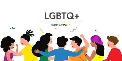 Pride Festival concept, the group of people prepares a pride festival event together, vector