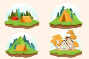Best nature location with house and tent in forest and mountain landscape vector illustration