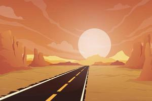 The country road and the sun is setting the sky vector