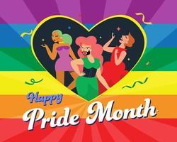 LGBT girls inside a rainbow heart symbol, flag of the LGBT community, vector illustration.
