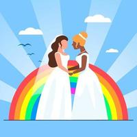 Two lesbian in dresses holding hands in front of big pride rainbow flag. women in love, female sexuality. Married, marriage rights vector
