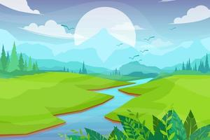 Nature scene with river and hills vector illustration