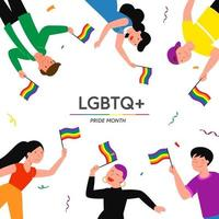 LGBT pride month concept vector illustration. Cartoon flat lesbian gay bisexual transgender queer character group holding rainbow flag on sexual discrimination protest LGBT parade isolated on white background