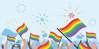Pride day people. Pride day flag. lgbt. crowd of people with rainbow flags and symbols on pride parade vector