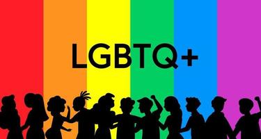 silhouette of Pride Festival concept, the group of people prepares a pride festival event together, vector