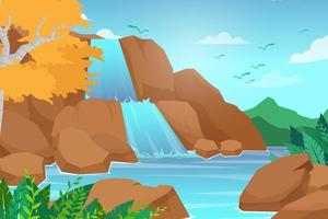 Vector illustration cartoon style of Waterfall in forest landscape background