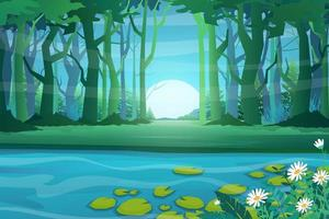 The nature scene of forest and pond with lotus vector