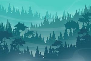 Vector illustration Nature scene of hills coniferous wood