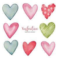 Collection multicolor Hearts illustration. Hand drawn Brush floral painting. Valentine's day romantic style. vector