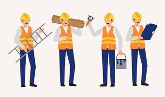 Set of Paint staff decorator in cartoon charactoers flat vector