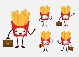set of businessman infrench fries mascot cartoon character flat vector