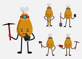 Set of Fried chicken leg mascot in miner cartoon character flat vector