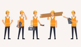 Set of Home repair worker in cartoon characters vector illustration,