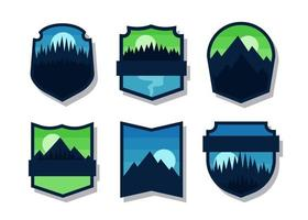 Set of badge or logo design element collection with out text flat vector