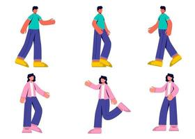 Set of woman and man with activity in cartoon character flat vector